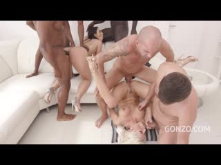 Blanche Bradburry and Kristy Black assfucked together by 5 huge cocks with double anal