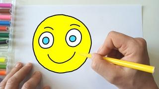 Волшебные рисунки - Как нарисовать Смайлик - мультик Раскраска для детей