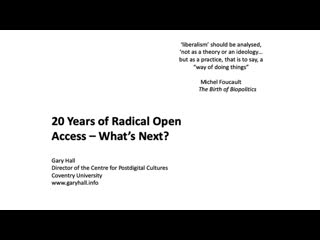 Twenty Years Of Radical Open Access — What's Next? | Gary Hall (November 14, 2019)