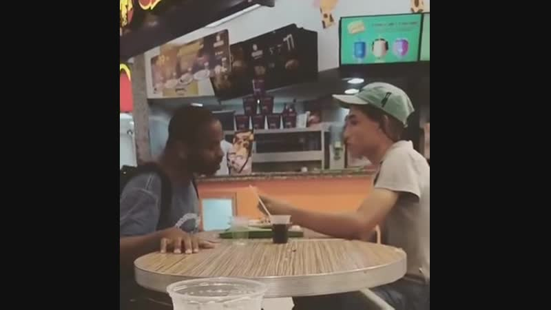 I saw this clip of 2 McDonald's employees having patience to help a disabled person instead of throwing him out or letting him s