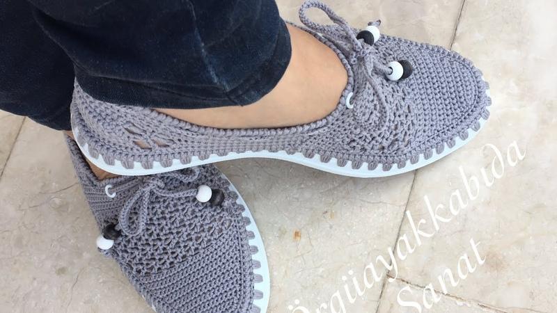 Çok Rahat Çok Şık Gri Babet Yapımıı knitting shoes