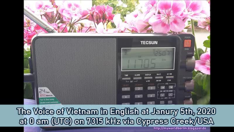 Die Stimme Vietnams in Englisch am 05.01.2020 um 0 Uhr (UTC) auf 7315 KHz via Cypress Creek/USA 📻😊