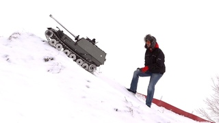 GIANT TANK DESTROYER HiLL CLIMB in SNOW 1:6 240 lbs  All Metal Armortek ELEFANT | RC ADVENTURES