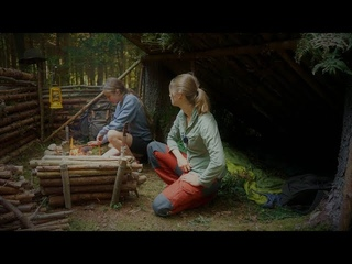 Permanent forest camp - Bushcraft Newbie Girl - Cadaver found - Shelter building - Open Fire Cooking