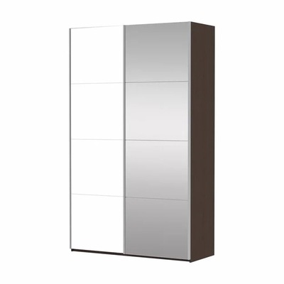 Прайм 2-дверный (Фасад Зеркало/Белое стекло) ш 1200