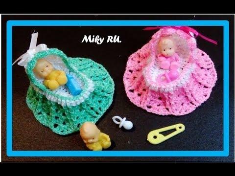 Recuerdo de baby shower o bautizo (Moises tejido) - Miky ru