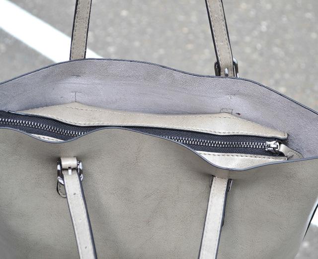 Кожаная серая сумка