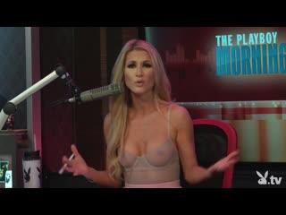Ведущая Andrea Lowell в прозрачной одежде  Interview Season Playboy Tv Morning Show