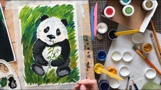 Как нарисовать панду гуашью. Урок рисования для детей.