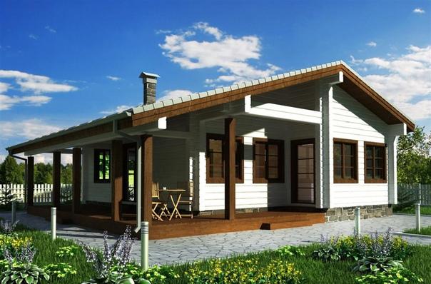 проект дома 100 кв.м. комнаты: две спальни, с/у, кухня-столовая, гостиная, прихожая, тамбуродноэтажный дом из профилированного бруса предназначен для проживания 2-3 человек. дом выполнен в