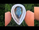 GIA CERT Estate 9 02 ct UNHEATED Blue Green Sapphire Diamond Engagement Ring 14K