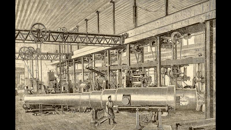Фильм о производство стволов 305 мм орудий Armstrong Whitworth factory Ньюкасл Великобритания 1908 1910г г