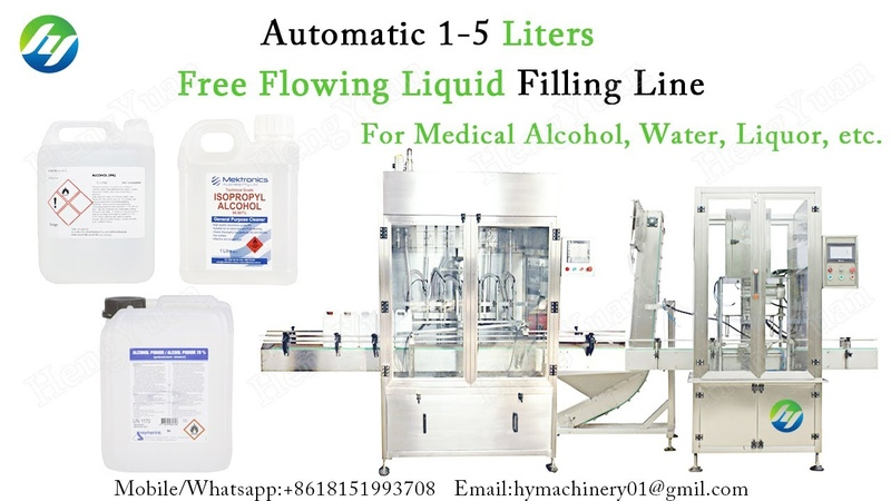 Automatic 1 5 Liters Free Flowing Liquid Filling Line for medical alcohol liquor etc