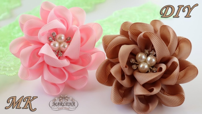 🌸 Цветы банты из репсовых лент Резиночки для волос Канзаши МК DIY