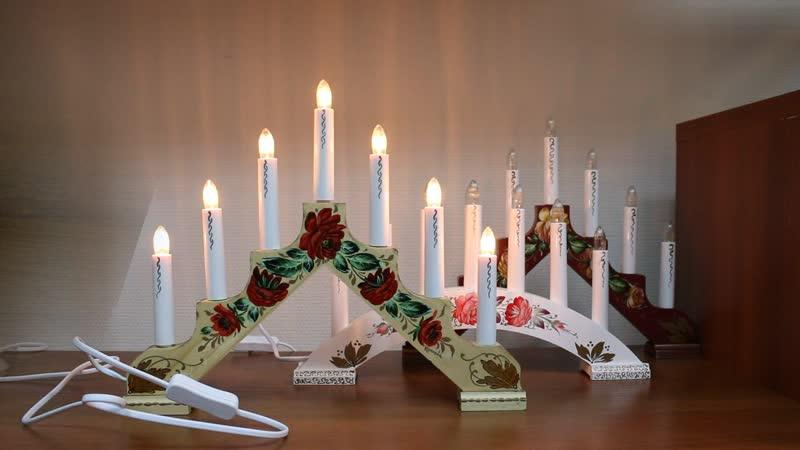 Рождественские горки светильники с ручной росписью в жостовском стиле