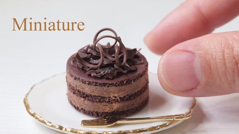 樹脂粘土とLEDレジンでチョコレートケーキとミントティーのミニチュア作りました。Make chocolate cake mint tea miniature with clay and resin