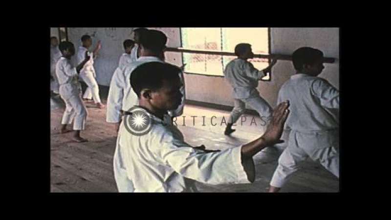 ARVN Special Forces trainees learn Tae Kwon Do from two Korean black belt Stock Footage