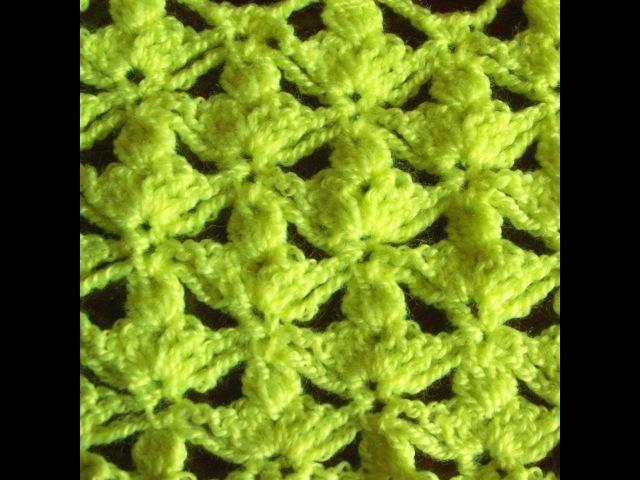 Ажурный узор крючком. Узор трилистник. Вязание узора. (Crochet pattern trefoil)