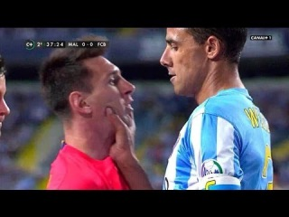 La PELEA COMPLETA entre Lionel Messi vs Weligton (Partido Barcelona vs Malaga)