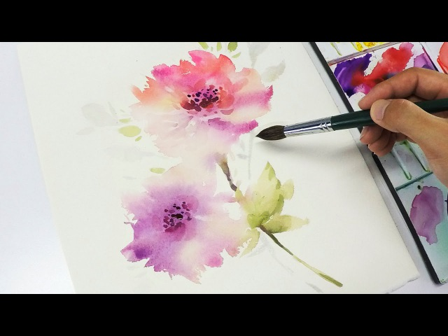 LVL3 Watercolor flower painting wet into wet