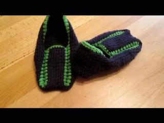 Тапочки следки спицами узор slippers spokes