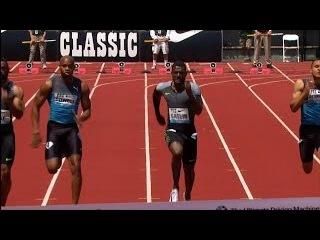 100m Gatlin beats Powell and Gay - Eugene Diamond League 2016 HD