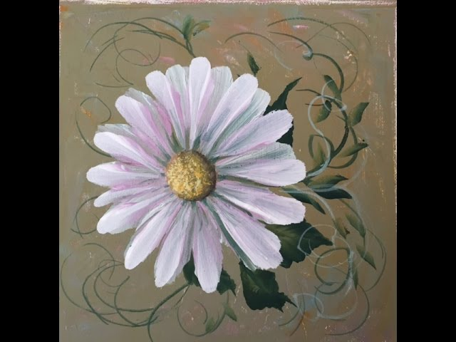 Как рисовать ромашку акрилом. Техника двойного мазка.One-stroke daisy in acrylic.