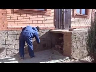 Отделка цоколя и барбекю под камень(Декоративный бетон)