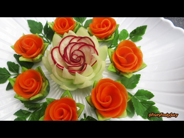 Attractive Garnish of Radish Carrot Rose Flowers with Onion Cilantro Designs