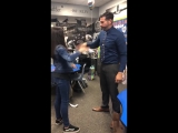 My little sister and her teacher had a handshake from the beginning of the year and added