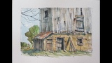 How to paint a weathered barn, barnboard and wood. Line and wash watercolor. Peter Sheeler
