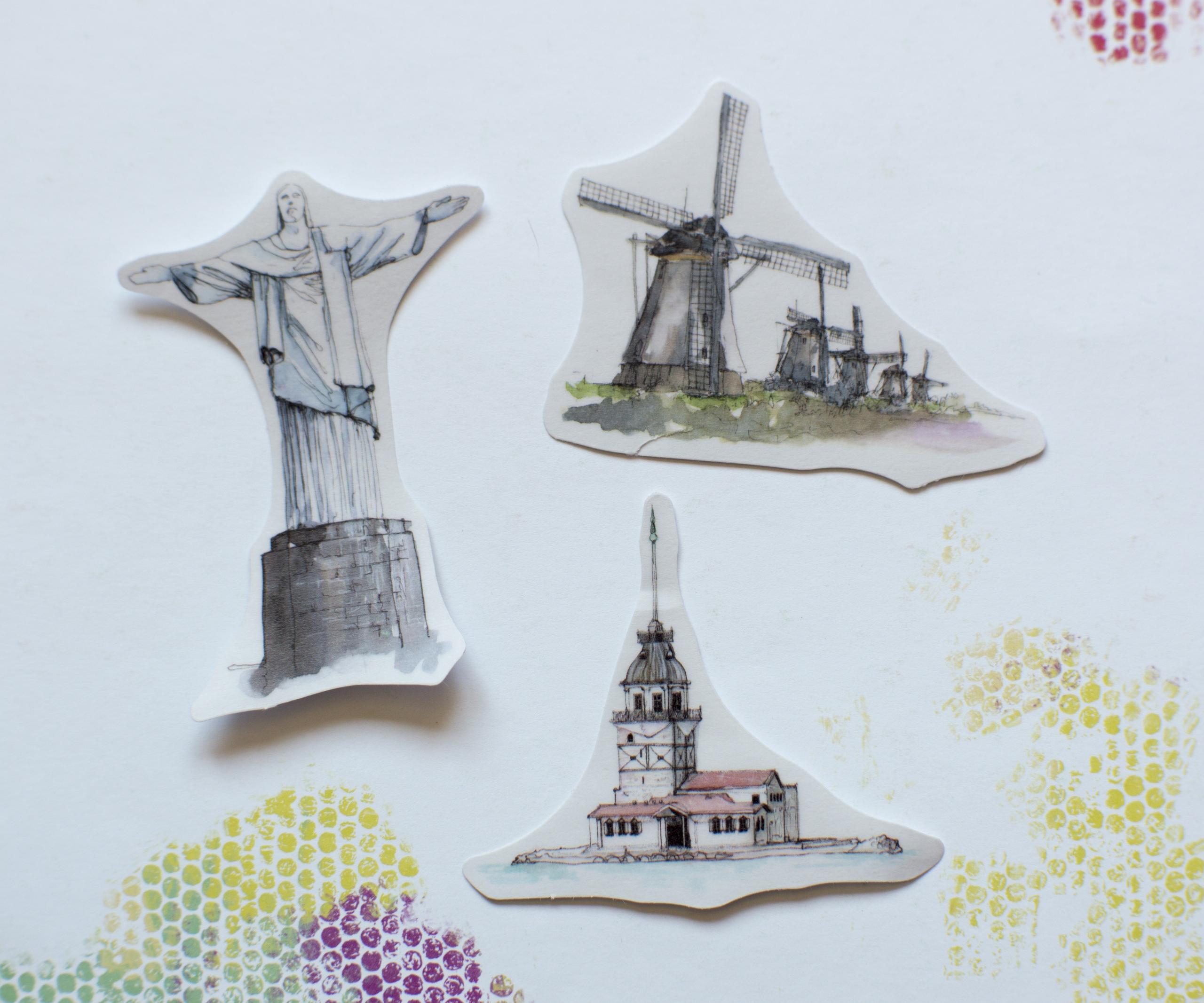 Обзор на яркие акварельные наклейки с изображением монументов