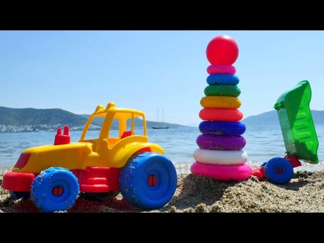 Oyuncak Kepçe ve Traktör halkaları diziyorlar. Renkleri ÖĞREN! Minik çocuklara PlajOyunları