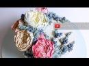 Double Peony Juniper berry Korean style buttercream flower wreath cake - relaxing cake decorating
