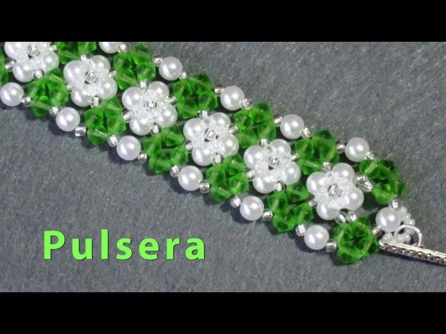 DIY Pulsera de perlas y tupis DIY Bracelet of pearls and tupis