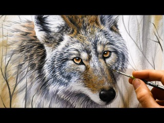 Realistic Speed-Painting with Markers & Acrylics | Coyote in the woods