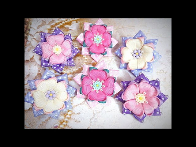 Простые бантики канзаши излент Kanzashi Flower DIY Grosgrain Ribbon Flower Flor de Fita Ola ameS DIY