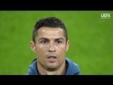 Криштиану Роналду поет гимн Лиги чемпионов