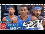 Carmelo Anthony, Russell Westbrook &amp Paul George Highlights vs Nuggets (2017.11.09) - Melo 28 Pts!