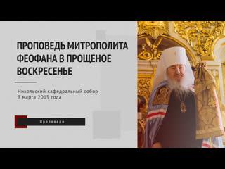 Проповедь митрополита Феофана в Прощеное воскресенье в Никольском соборе Казани