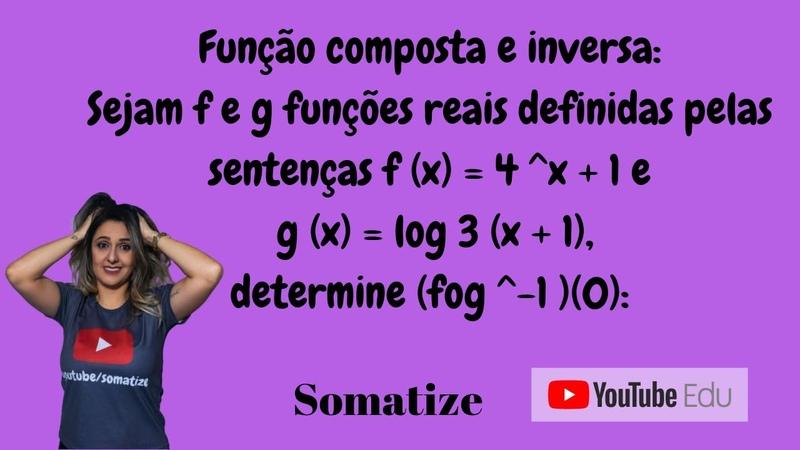 Função Composta e Função inversa Logaritmo e exponencial Somatize Professora Edna Somatize