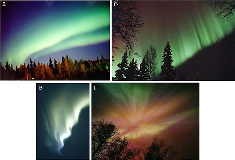 Различные формы полярного сияния: (а) гомогенная дуга, (б) лучевая дуга, (в) поднимающийся пар и (г) корона