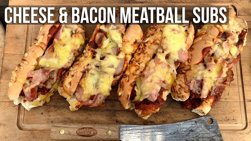 Cheese and Bacon Meatball Subs by the BBQ Pit Boys