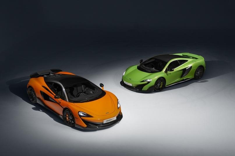 2015 McLaren 675LT (зелёный) & 2019 McLaren 600LT (оранжевый, серый)