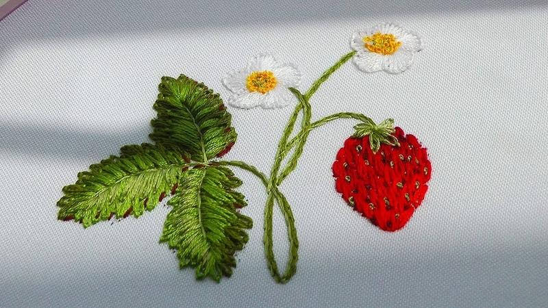 Embroidery :Strawberries 🍓 Вышивка: Клубника 🍓 Cómo bordar fresas