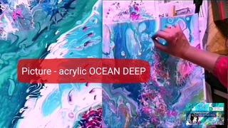 -Акриловая заливка-Art paint Ocean technique Painting Surreal -Глубины Океана