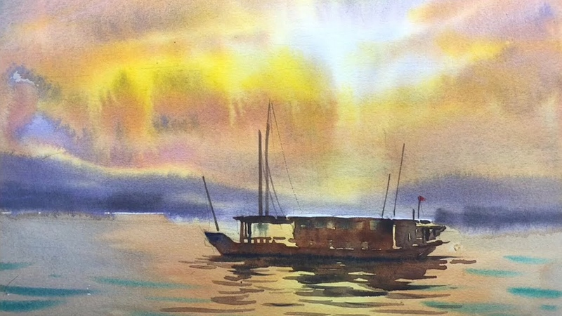 Sunset Over The Sea Watercolor painting