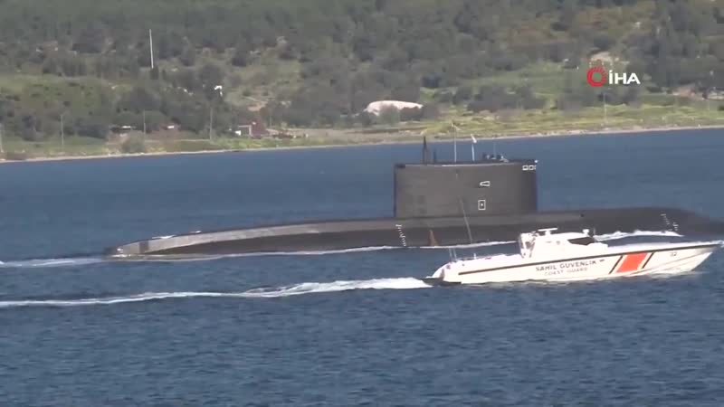 The RFS B 271 Kolpino a Improved Kilo class submarine transits Dardanelles towards the Marmara Sea