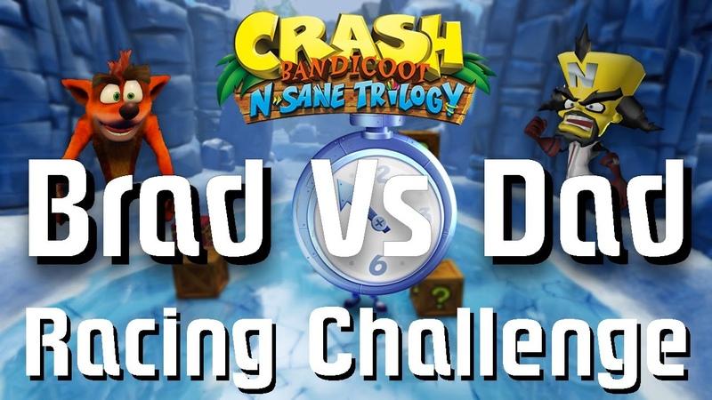 Brad VS. Dad racing challenge playing Crash Bandicoot 2 Cortex Strikes Back