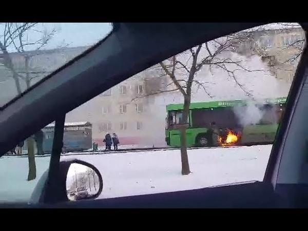 В Витебске загорелся городской автобус